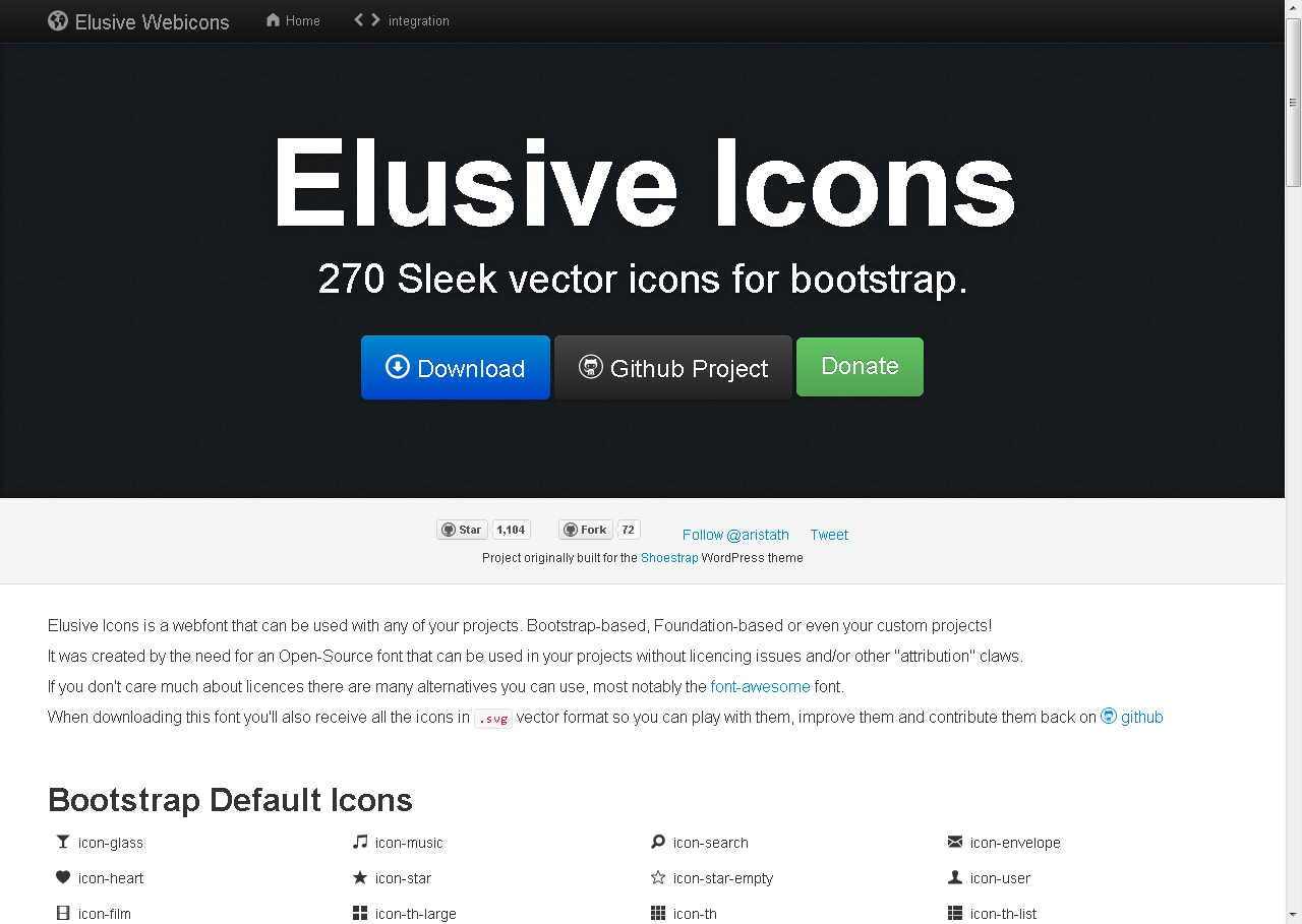 Elusive icons, an icons font designed for use with