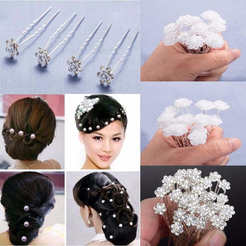 19cdf7d6c1 20Pcs Fashion Wedding Bridal Pearl Flower Clear Crystal Rhinestone ...