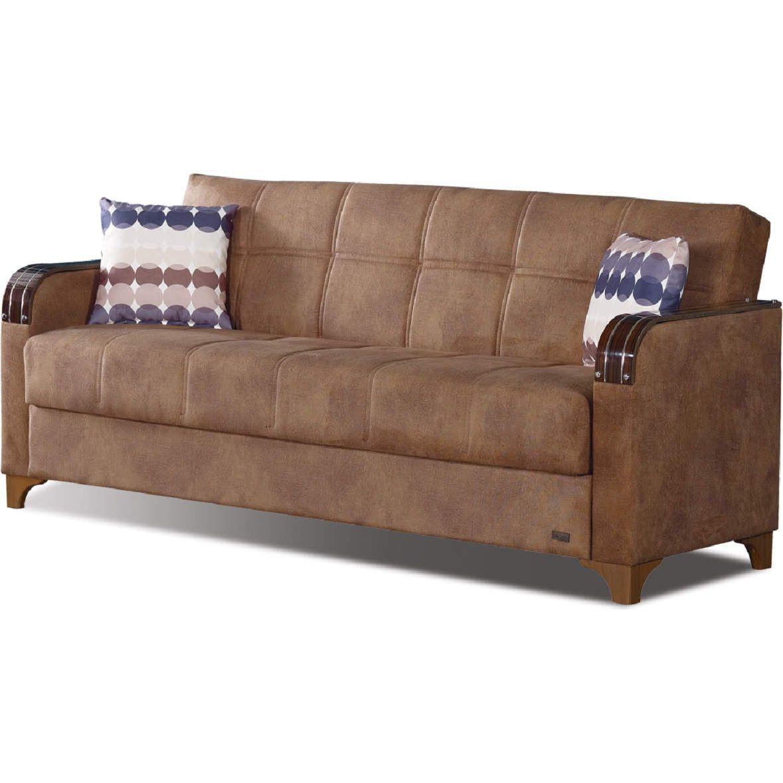 - Nevada Sleeper Sofa Brown Microsuede Brown Sofa, Empire