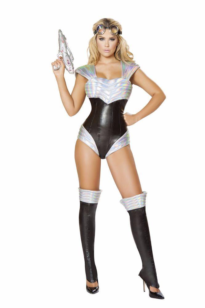 Roma Space Bound Hottie White /& Silver Bodysuit Astronaut Costume 4736