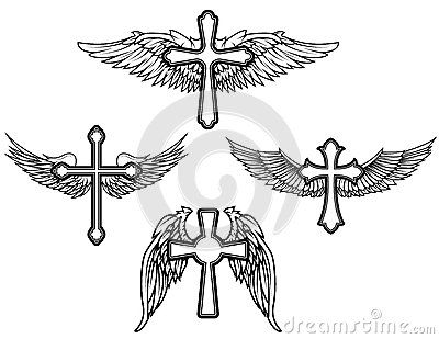 Set Of The Cross With Wings Tattoo Ideas Cross With Wings Tattoo