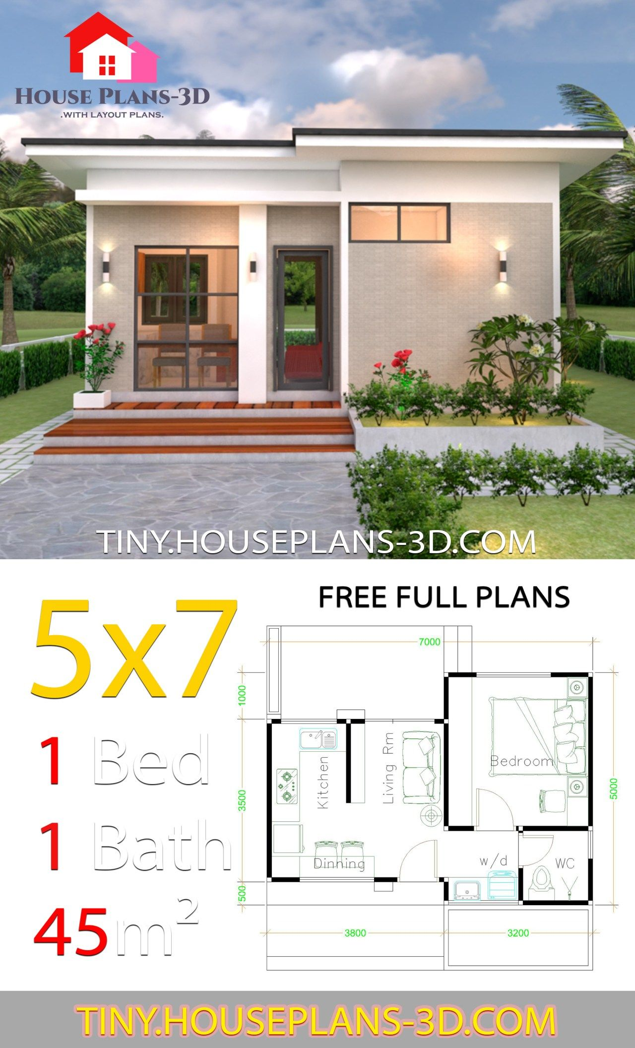 Small House Design Plans 5x7 With One Bedroom Shed Roof Tiny
