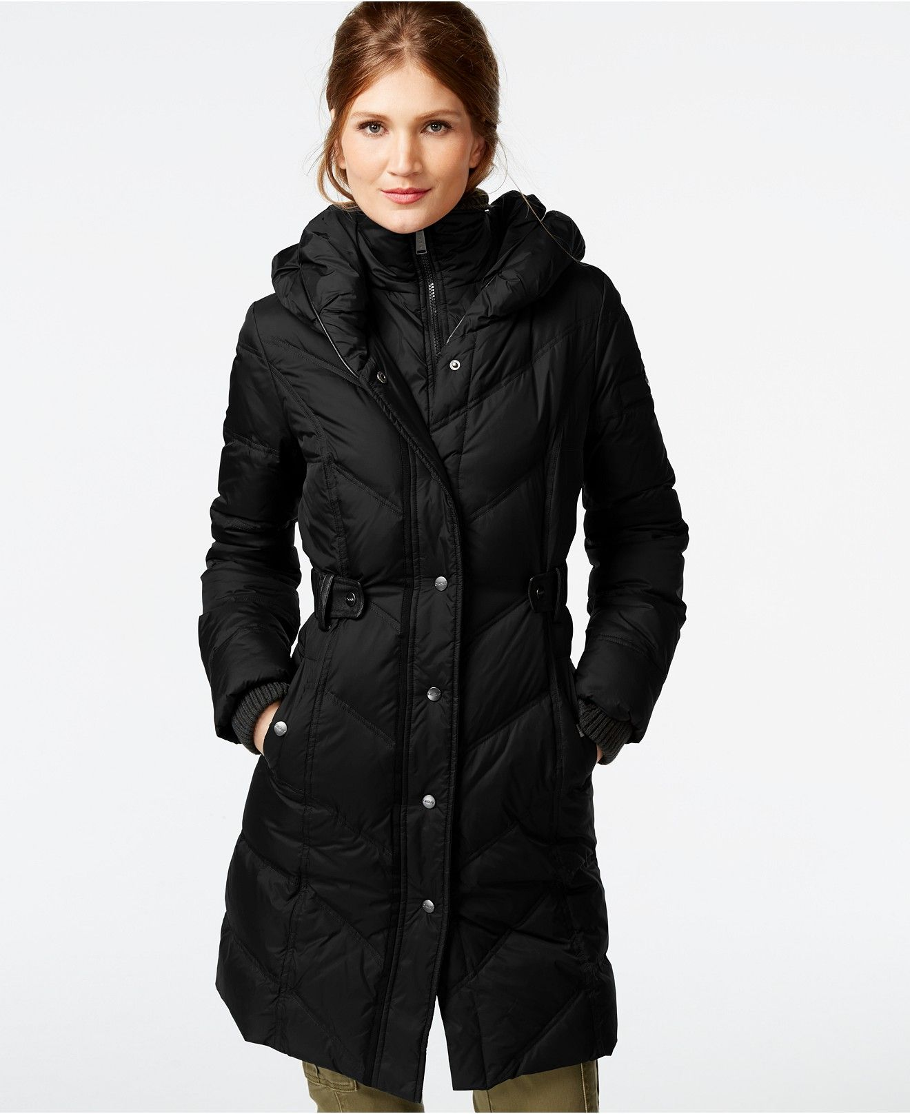 DKNY Faux-Leather-Trim Quilted Down Coat - Coats - Women - Macy's ...