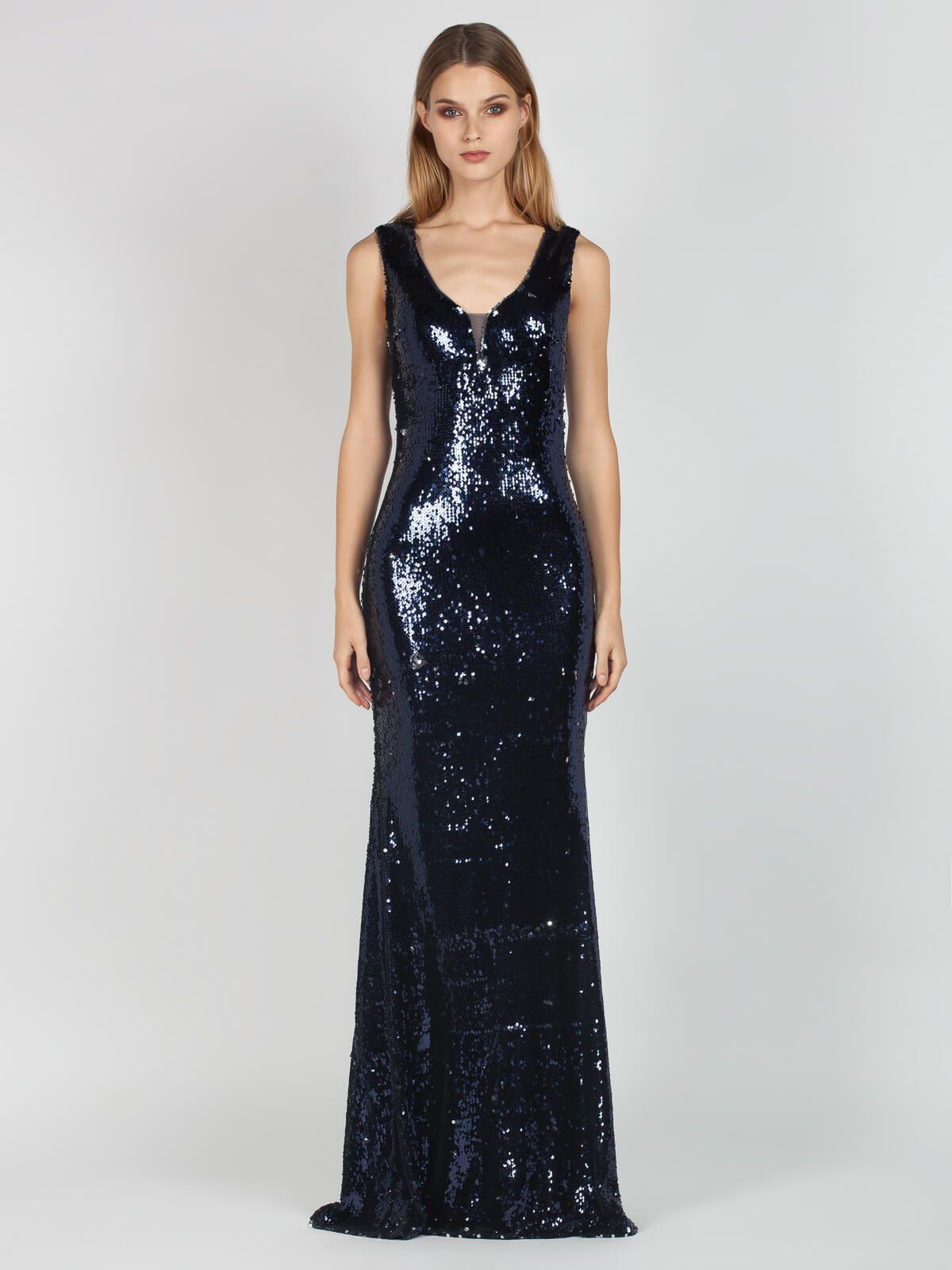 ca9186d085b5 Μάξι βραδυνό φόρεμα-τουαλέτα με παγιέτες σε σκούρο μπλε χρώμα. Η τουαλέτα  είναι αμάνικη
