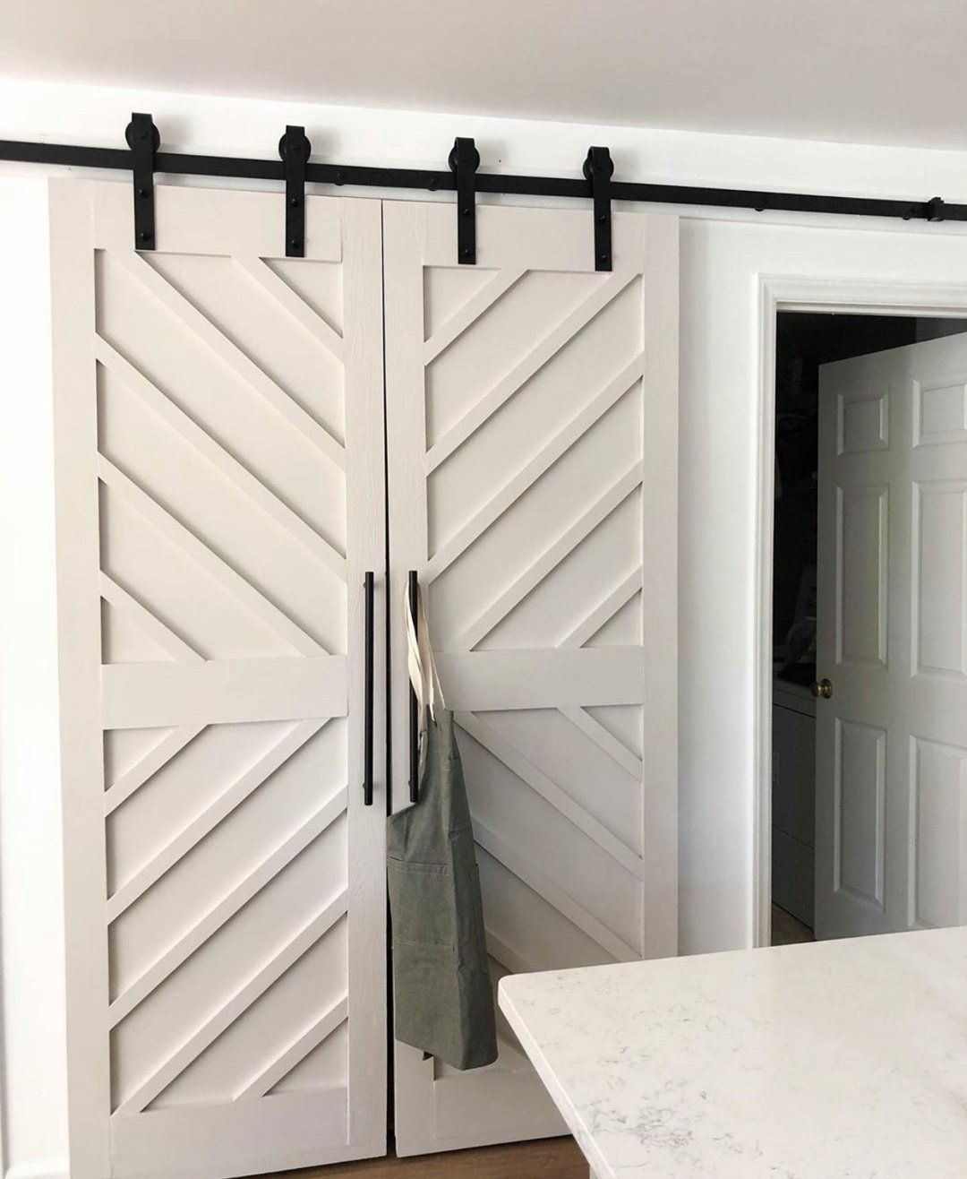 Raised Chevron Panel Interior Sliding Barn Door Rustic Luxe Designs In 2020 Interior Sliding Barn Doors Diy Sliding Barn Door Interior Barn Doors