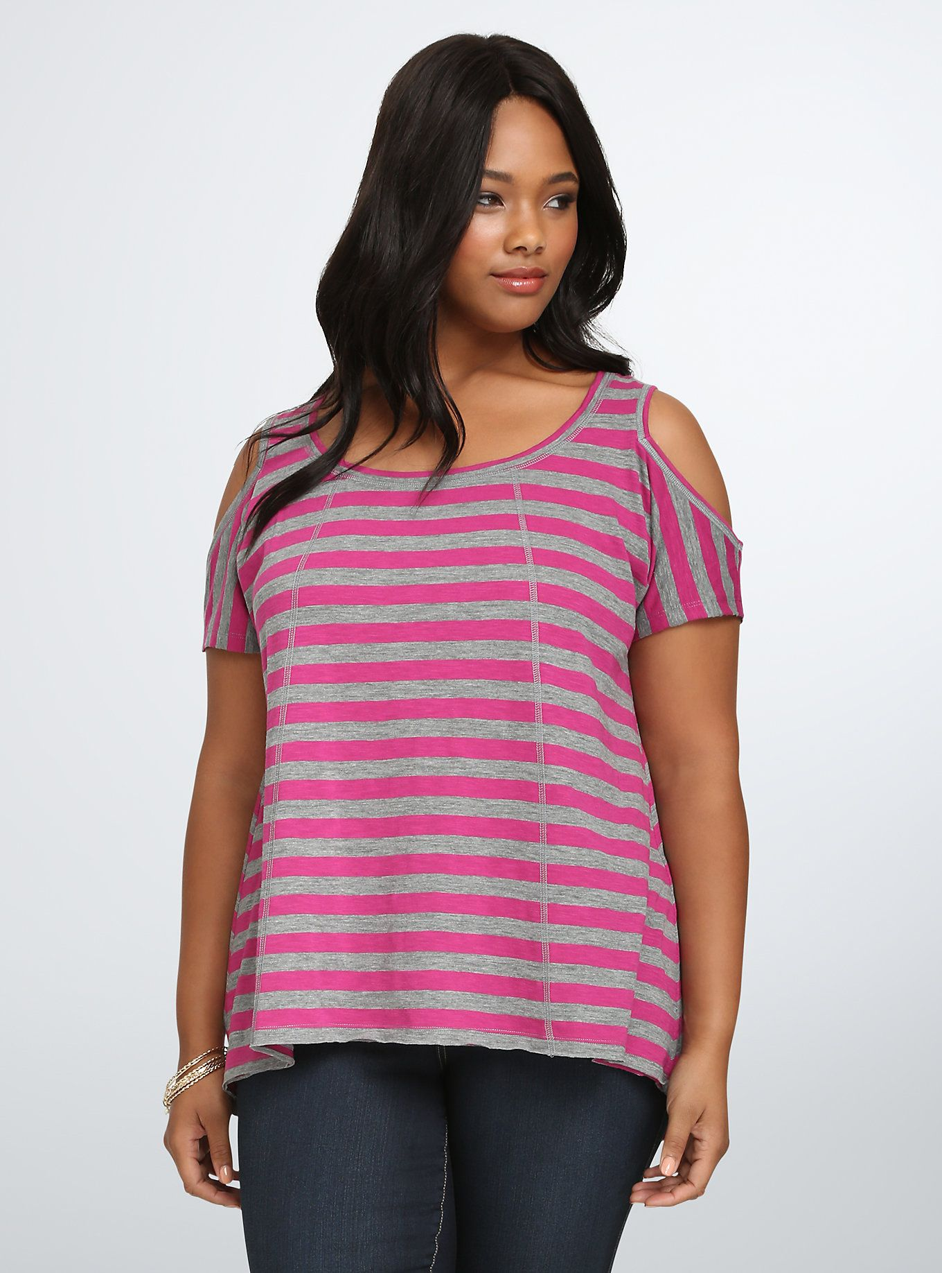 039b8bbf78b369 Striped Cold Shoulder Swing Tee, MULTI STRIPE Plus Size Tees, Sequin Top,  Grey