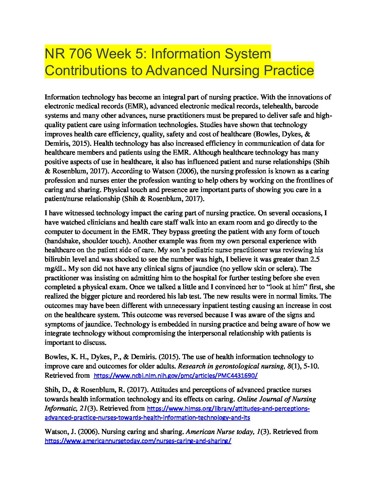 Chamberlain College Of Nursing Nr 706 Week 5 Part 1 Information System Contributions Chamberlain College Of Nursing Advanced Nursing Advanced Practice Nurse