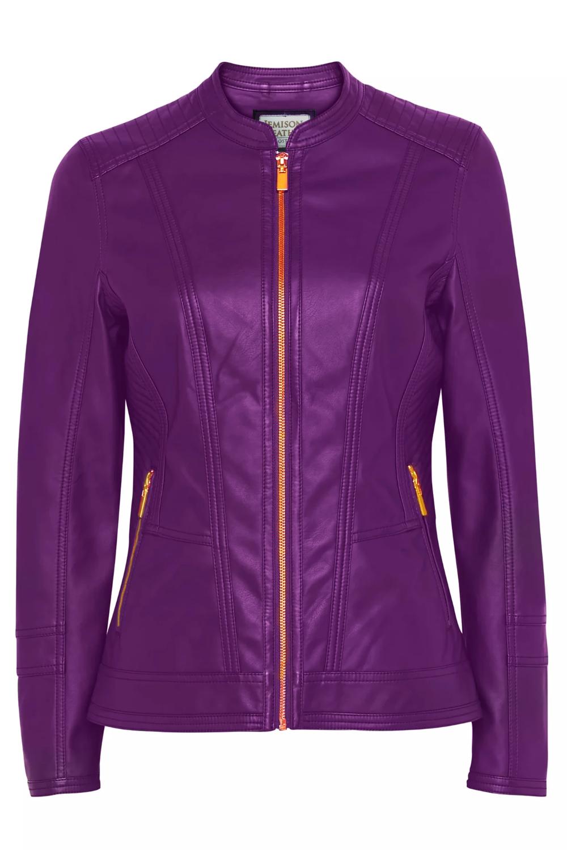 Jemison Leather Biker Style Purple Women's Jacket