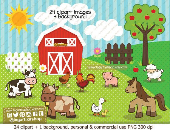 Farm Animals Clip Art Clipart Pig Horse Cow Duck Little Duck