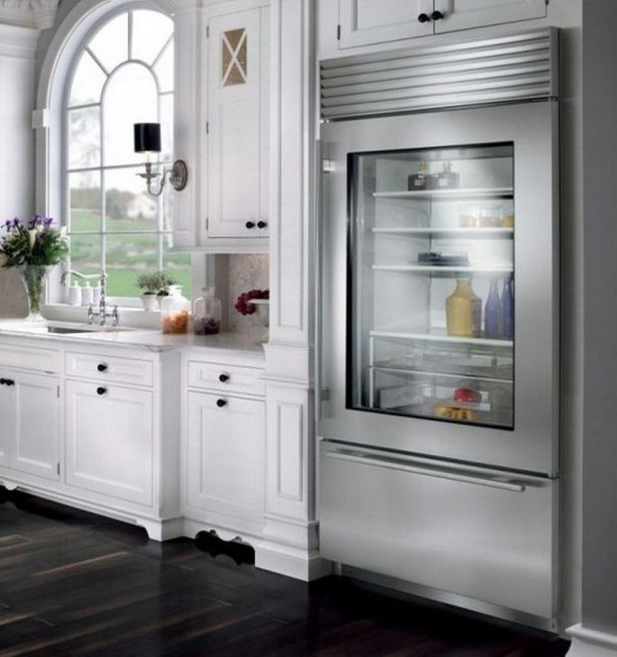 Frosted glass door refrigerator - Classy White Kitchen Cabinets Also Arched Window And Luxury Glass Front Refrigerator Residential Modern Glass Front Frosted Glass Doorglass