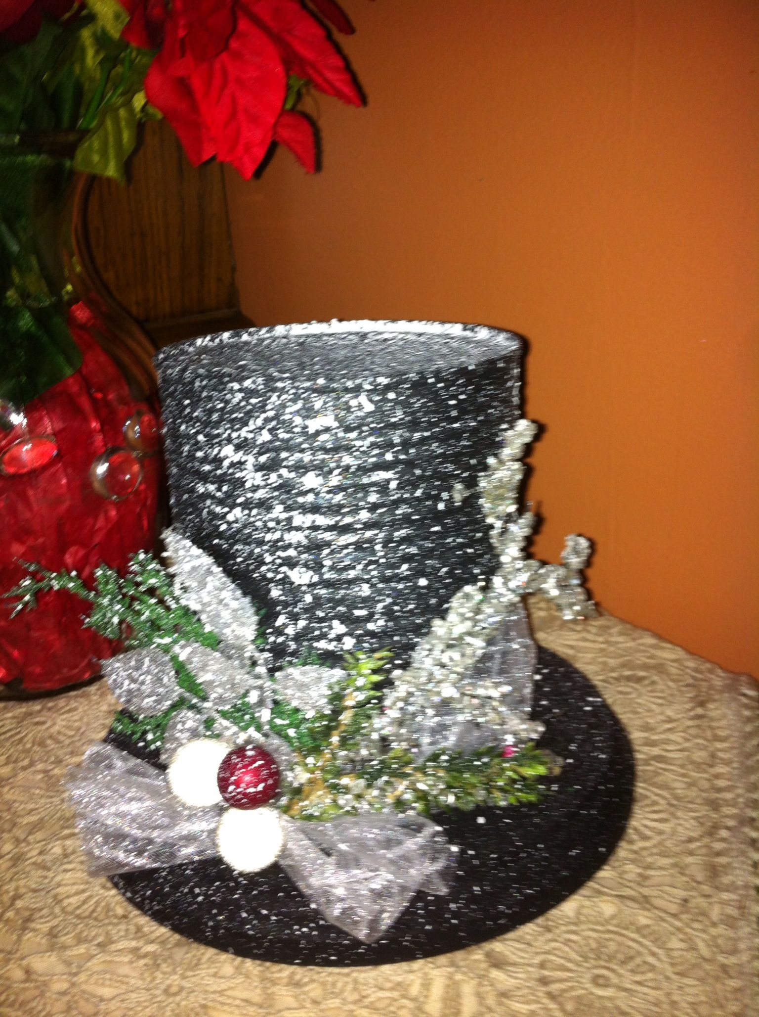 Snowman hats I made!! Christmas centerpieces, Xmas