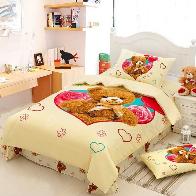 teddy bear bedding100 cotton child cartoon bedding quilt cover single kids twin full size bed sheets - Kids Full Sheets