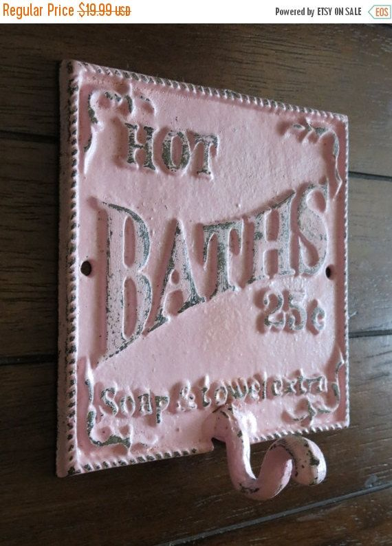 Photo of Retro Vintage Style Bathroom Hook and Sign / Towel Bathrobe Wall Hanger / Pale Pink  or Pick Color / Wall Decor / Metal Sign with Hook