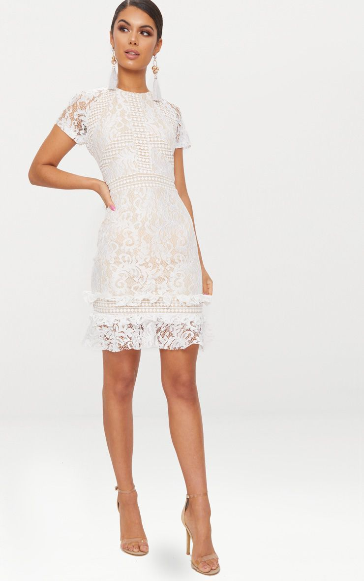 White Frill Hem Lace Bodycon Dress Lace White Dress White Short Dress White Dress Outfit [ 1180 x 740 Pixel ]