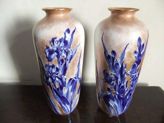 Pair Of 10 Antique Royal Doulton Burslem Iris Pattern Vases With