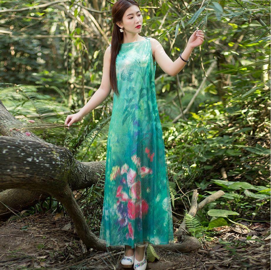 New summer style women mesh cotton linen floral print long dress