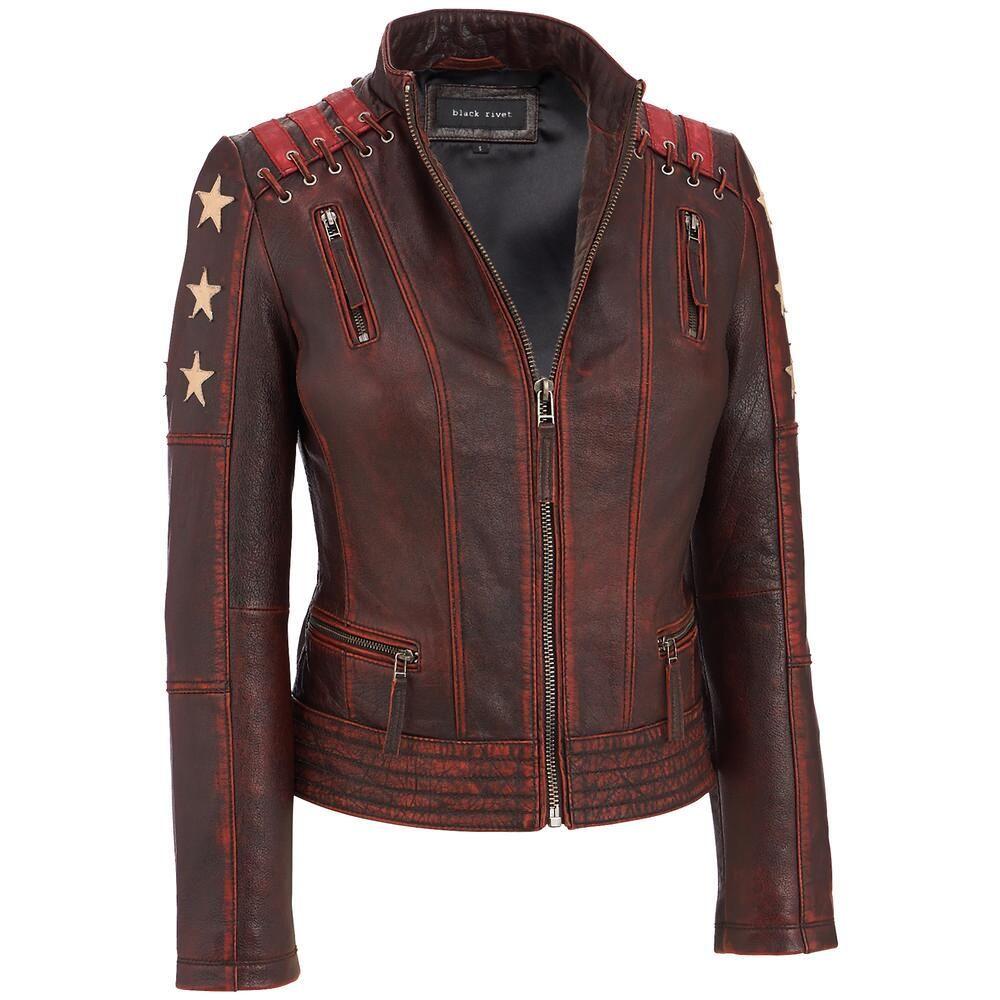 Black Rivet Distressed Stars And Stripes Leather Jacket W X2f Lacing Detail Leather Jackets Women Striped Leather Jacket Distressed Leather Jacket [ 1000 x 1000 Pixel ]