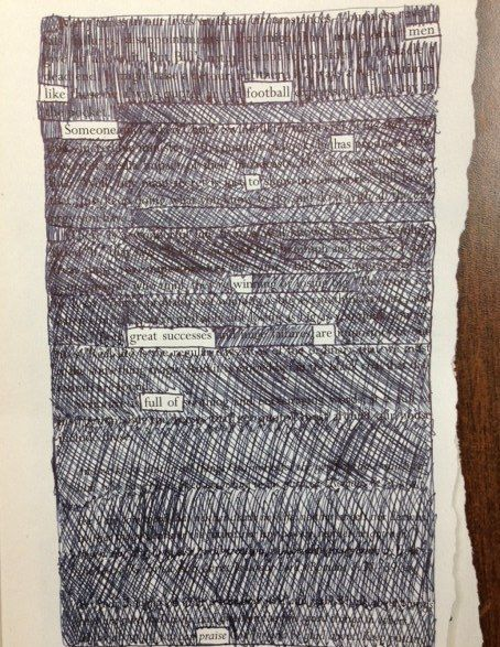 Blackout poetry. now I know what I'm doing with my French books that aren't fit to sell!