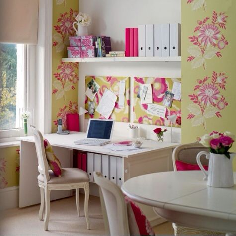 vintage shabby chic inspired office. #inspiration #room #decor #flowers #pink #yellow Vintage Shabby Chic Inspired Office