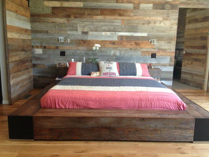 holz wandpaneele holzoptik schlafzimmer wandgestaltung Beds