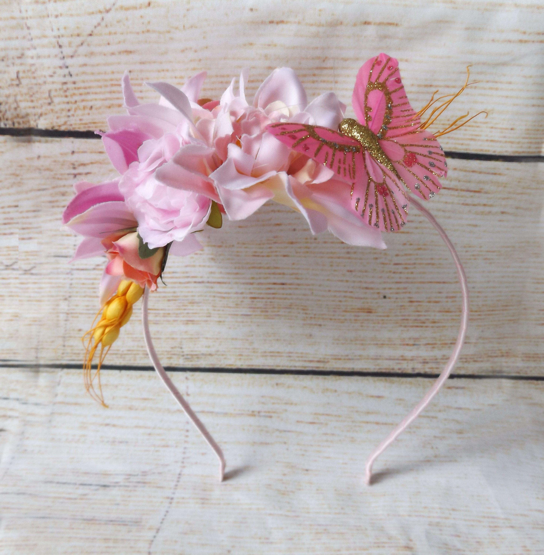 "Little Girls Hair Flower Crown ""Pink Butterfly"" Floral"