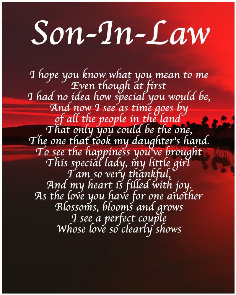 Personalised Son In Law Poem Birthday Christmas