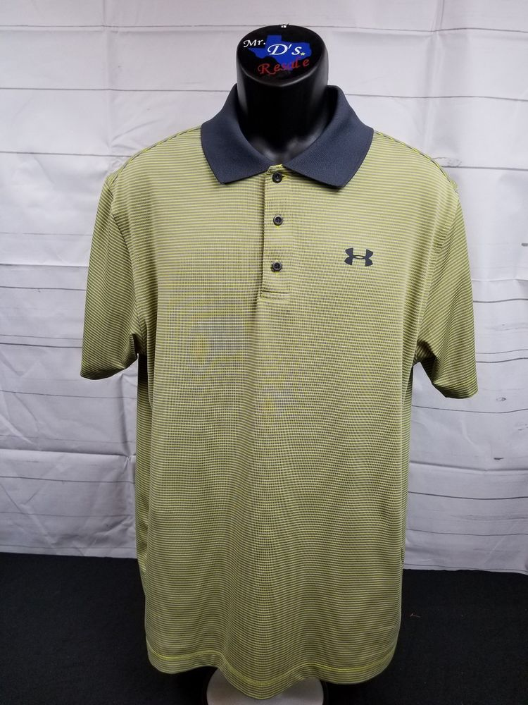 6aa7e1b3 EUC Men's Under Armour Golf Polo Shirt UA S/S Yellow Gray Striped ...
