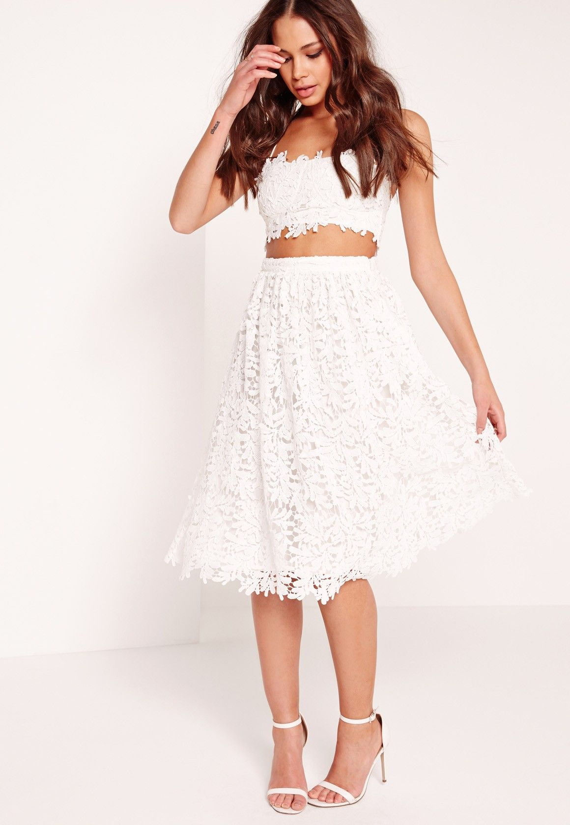 519ae2e42 Missguided - Crochet Lace Full Midi Skirt White | WISH List | Full ...