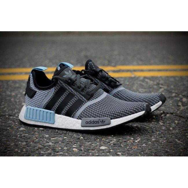 5990bcdfc12d6 Affordable Mens Adidas NMD R1 Core Black White Clear Blue S79159 Trainers