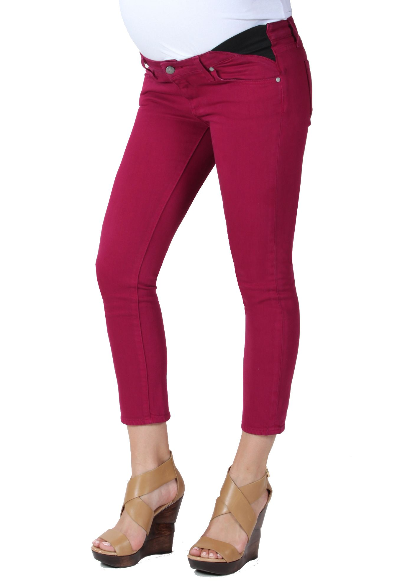 9d04fbdcfc31f Union Kylie Crop in Bonita - Dark Pink Under Belly Capri Designer Maternity  Jeans from Paige Premium