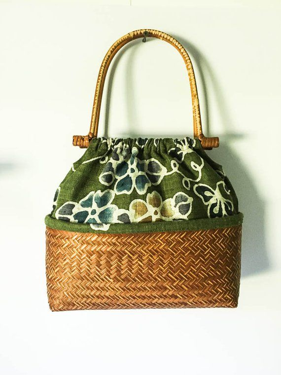 e03eb8a43035 Straw rattan   fabric purse - Woven straw bag - Woven Straw and fabric bag  - Boho bag - Basket purse