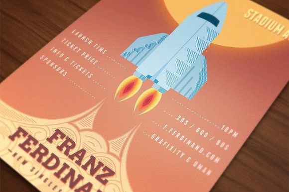 Launch Event Rocket Poster by VectorBurn on @creativemarket