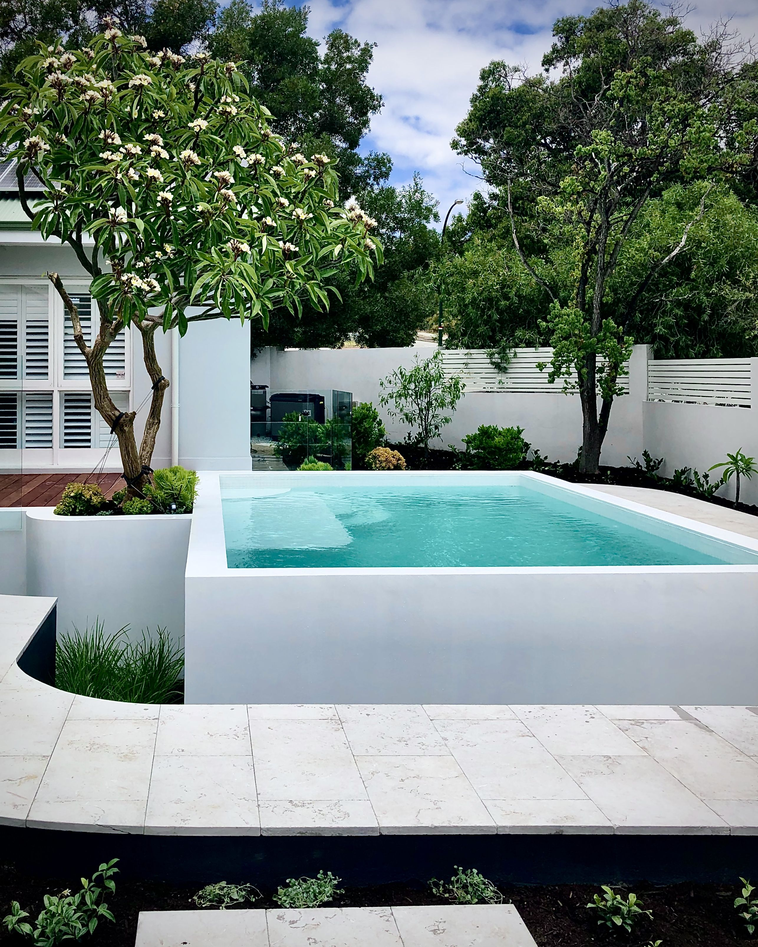 Fully Tiled White Pool With Microcement Render Design By Tristanpeirce Landscape Architecture Perth Western Aus Garden Pool Design Garden Pool Pool Landscaping