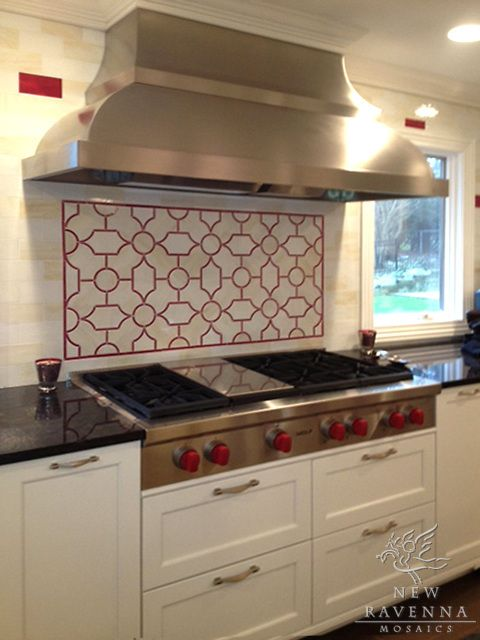 Chatham 3 Stone Water Jet Mosaic In Travertine White And Red Gl Br Designer Cindy Leff For Fancy Fixtures