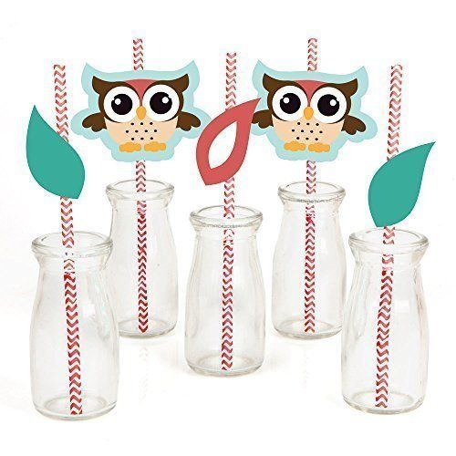 Owl - Party Straw Decor with Paper Straws - Set of 24