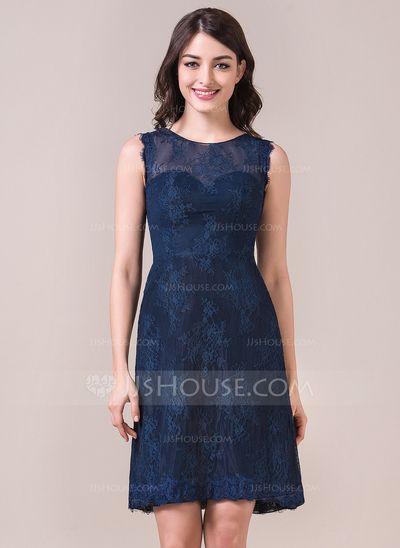 [US$ 112.99] Sheath/Column Scoop Neck Knee-Length Lace Bridesmaid Dress (007057965)