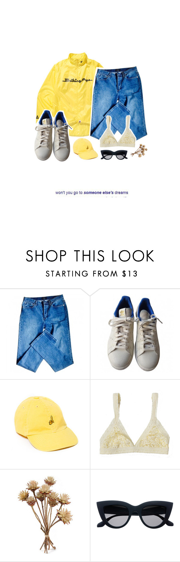 """""""+. let my best friend drive"""" by oisauce ❤ liked on Polyvore featuring A BATHING APE, A.P.C., adidas, UNIF and Lonely"""