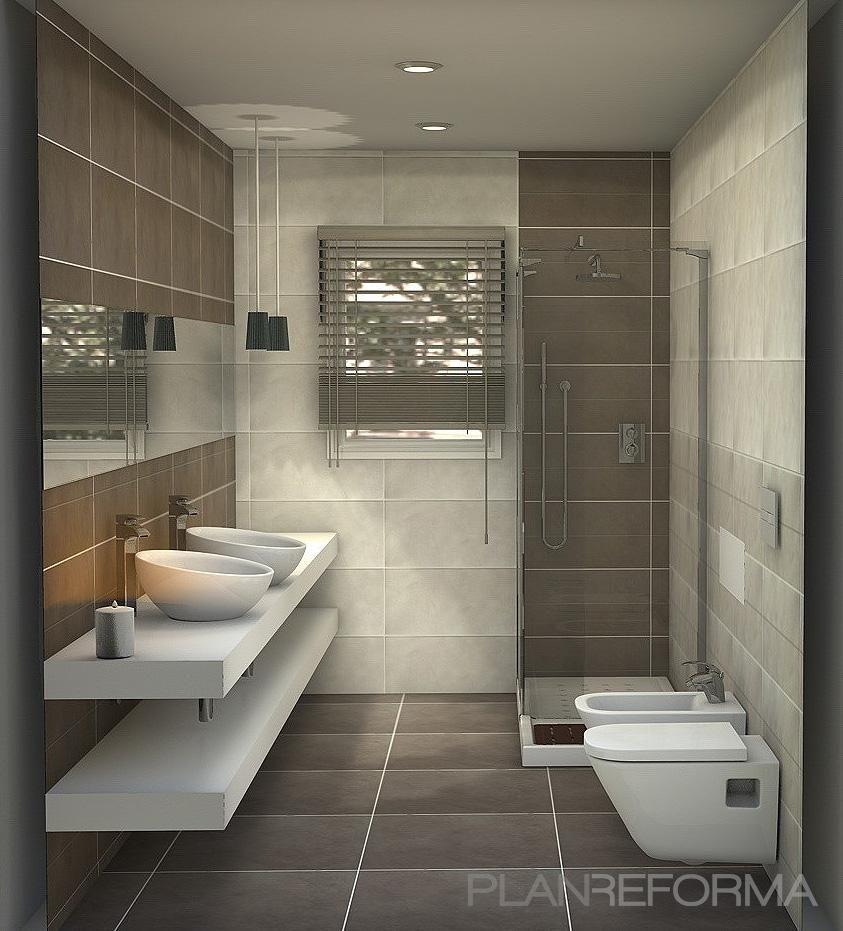 Baño, Tocador style contemporaneo color marron, blanco, gris