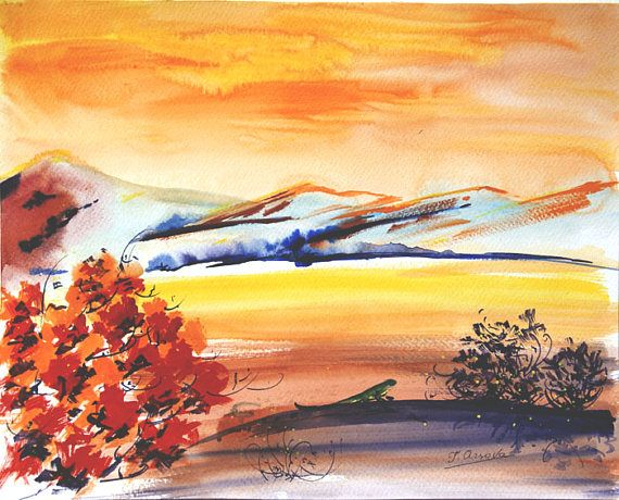 Original watercolor landscape painting of foothill with lizard