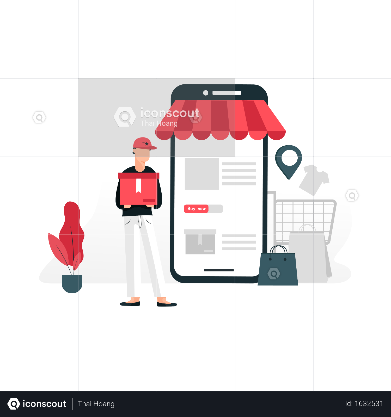 Premium Online Mobile Store And Home Delivery Illustration Download In Png Vector Format Online Mobile Mobile Store Illustration