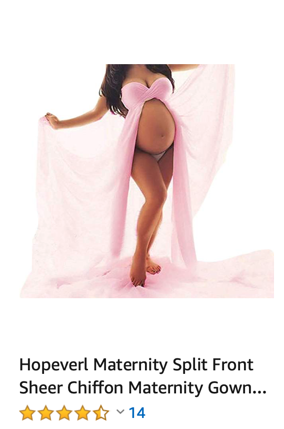 Hopeverl Maternity Split Front Sheer Chiffon Maternity Gown Maxi Bridesmaid Dress for Photos Shoot