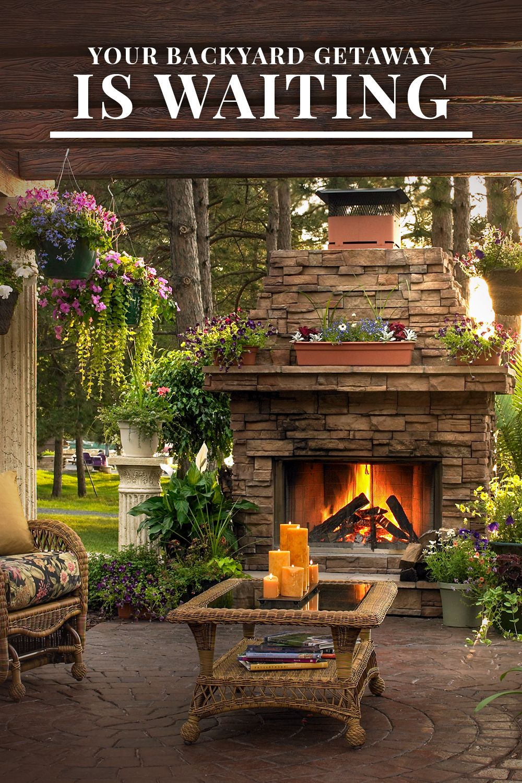 Your Backyard Getaway Is Waiting Backyard Getaway Backyard Fireplace Backyard Seating Area Backyard landscaping ideas with fireplace