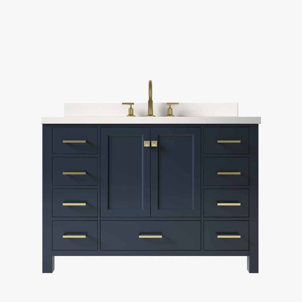 Ariel Cambridge 49 In W X 22 In D X 35 In H Bath Vanity In Midnight Blue With Quartz Vanity Top In White With White Basin In 2020 Quartz Vanity Tops Vanity Bath Vanities