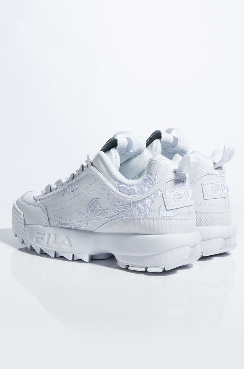 FILA WOMENS DISRUPTOR II FLORAL EMBROIDERY IN WHITE