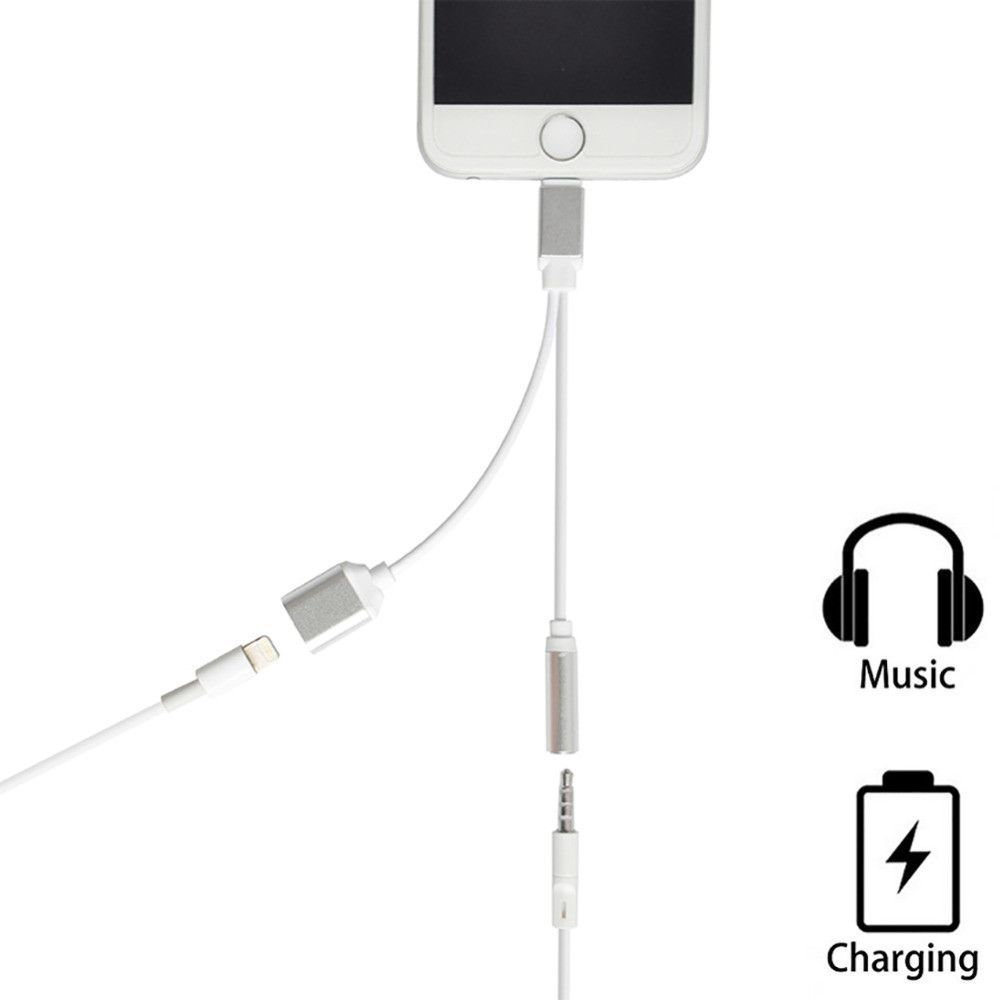 2 In 1 Charging Audio Adapter For Iphone 7 7 Plus Lighting To 3 5mm Headphone Headset Jack Charger Earphone Cable For Iphone 6s Iphone 7 Plus Iphone 7 Iphone