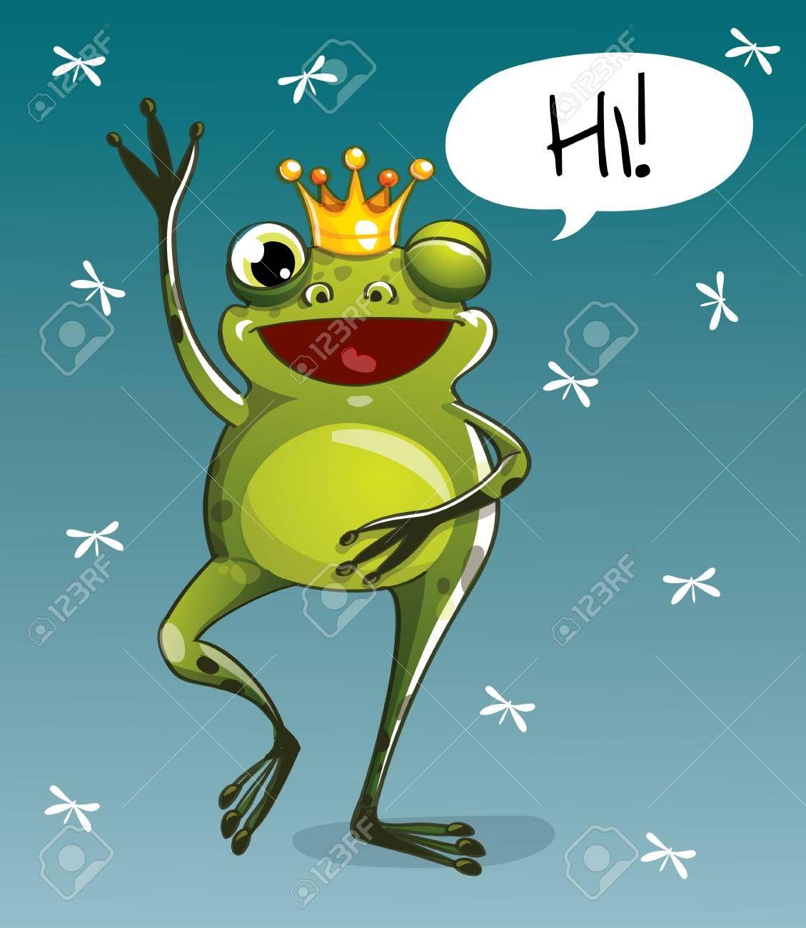 A vector illustration of cartoon frog prince. Illustration , #Sponsored, #cartoon, #illustration, #vector, #Illustration, #prince