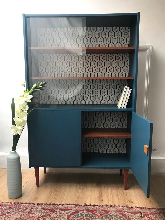 Bibliotheque Scandinave Vintage En 2020 Relooking De Mobilier Deco Maison