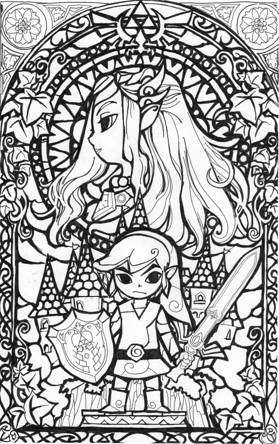 awesome stained glass zelda coloring page gonna try this in watercolors later