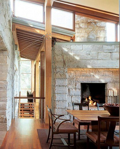Rustic And Modern Fireplace: Rustic Modern Fireplace And Dining