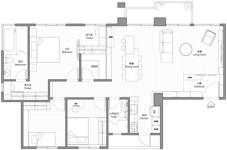 Plano y dise o de interiores de moderno departamento de for Diseno de interiores dormitorios